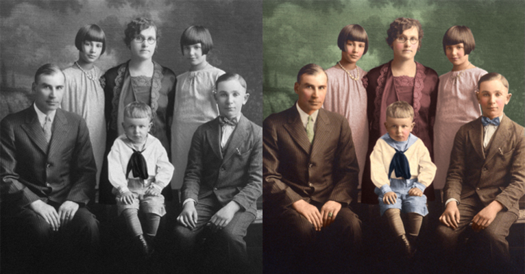 vintage family portrait colorized chattanooga photo restoration