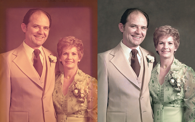 faded color photograph Chattanooga photo restoration