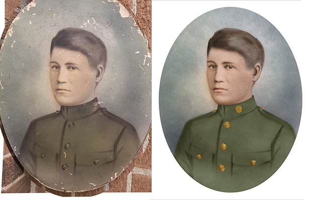 photo restoration Chattanooga Tennessee vintage military portrait