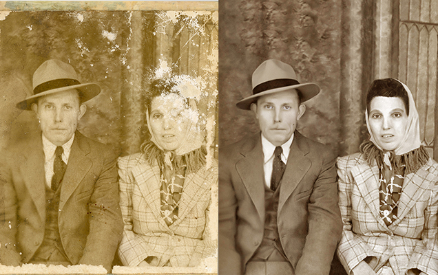 photo restoration Chattanooga Tennessee vintage portrait couple