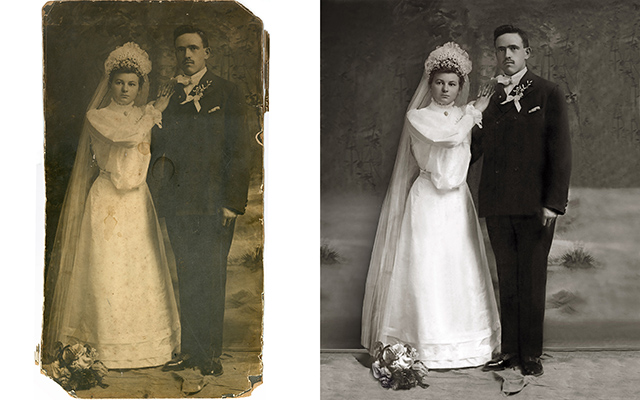 photo restoration Chattanooga Tennessee vintage wedding portrait image