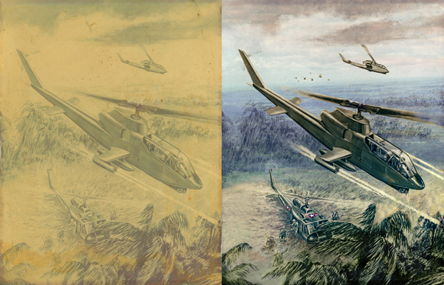 Vietnam helicopter illustration Chattanooga photo restoration
