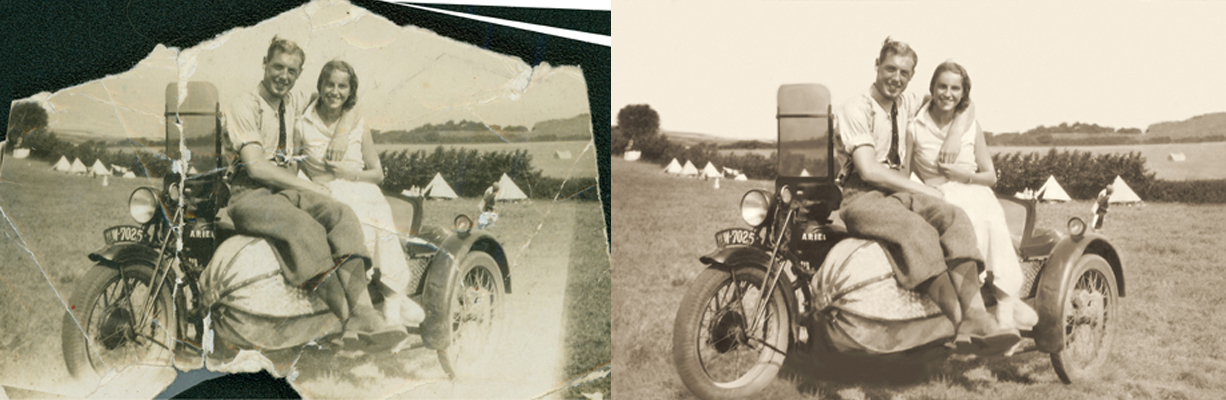 Chattanooga photo restoration vintage motorcycle wedding photo